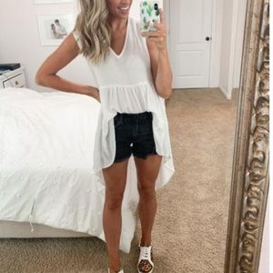 V neck shirred high low top tunic